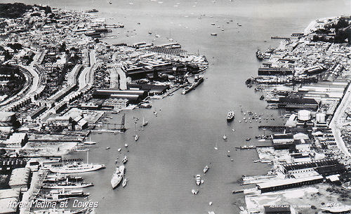 Arial view of Cowes Harbour